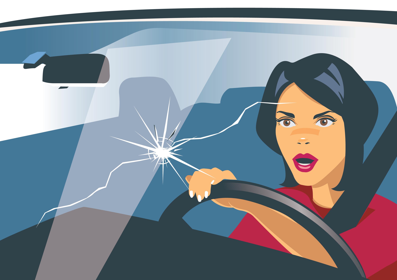 A rock cracked a woman's car window.