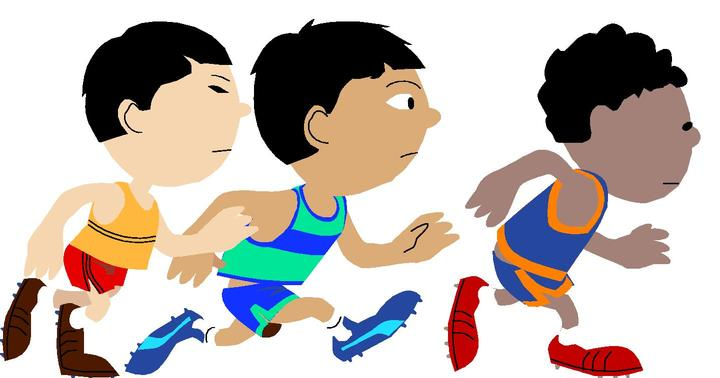 Three kids running in a race.