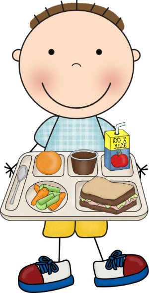 boy holding lunch tray clipart.