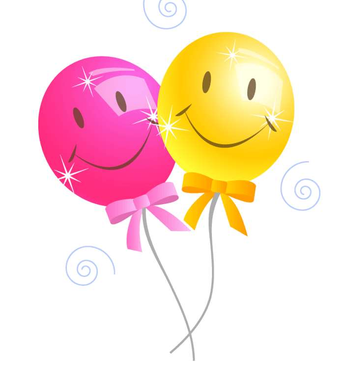 A pink balloon and a yellow balloon.
