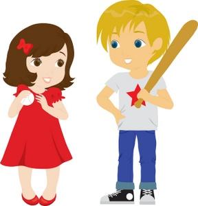 A girl and a boy playing baseball.