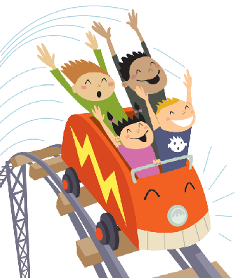 A group of kids riding a roller coaster.