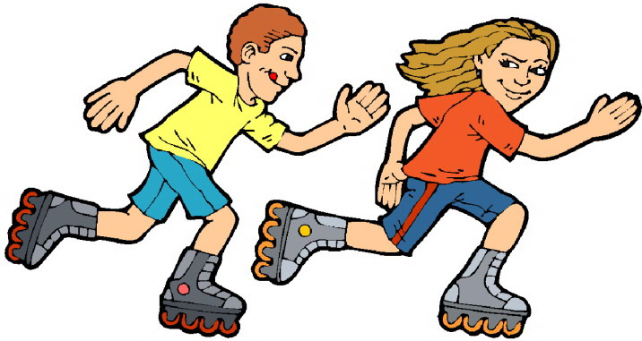A boy and a girl racing on roller blades.