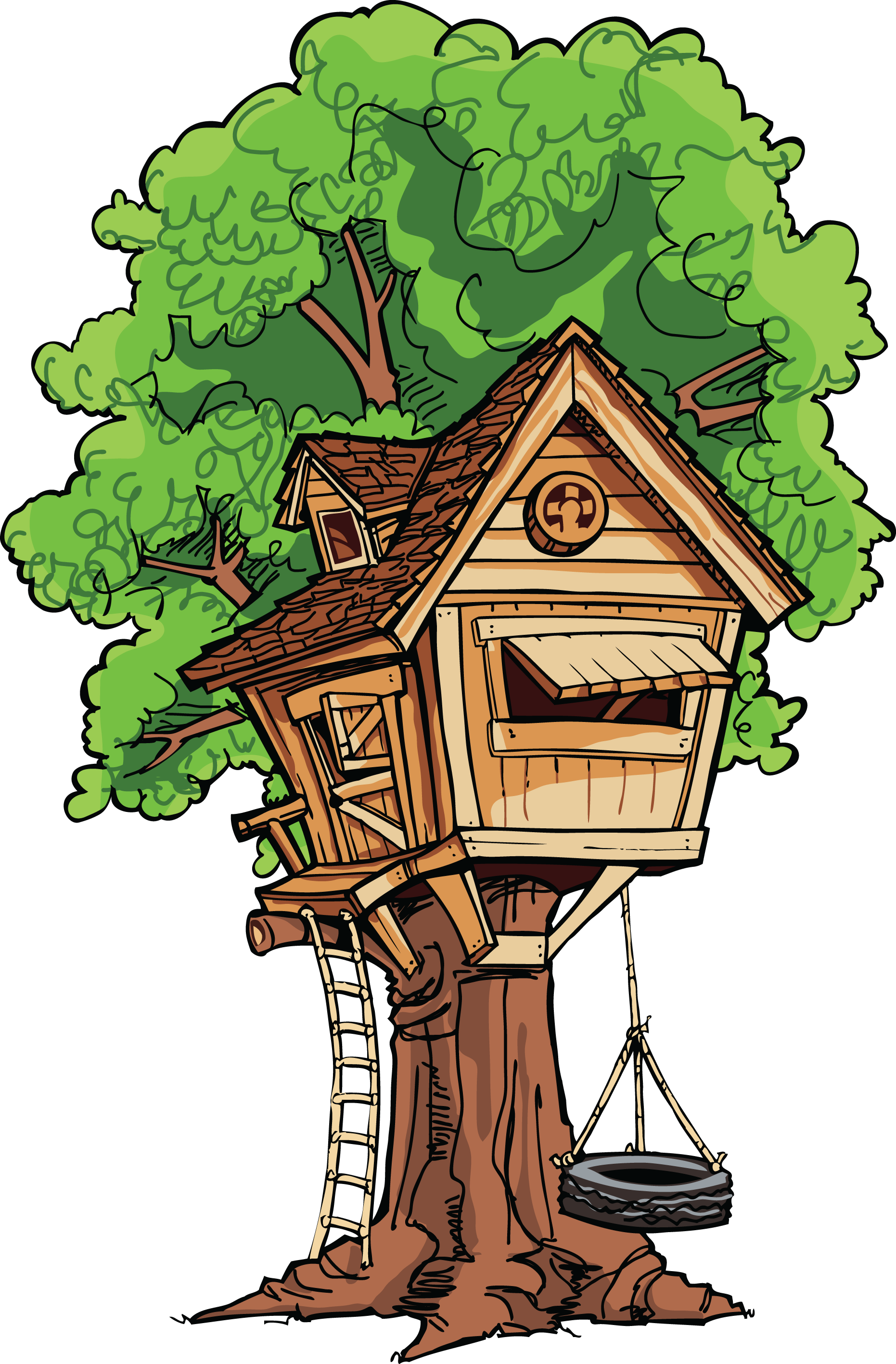 A tree house with a tire swing.