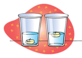 Glasses of water showing an object that sinks and an object that floats.