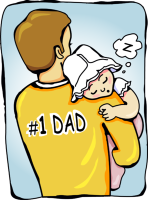 A baby sleeping on her daddy.