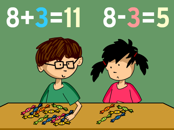 Two kids doing math problems with pieces of candy.