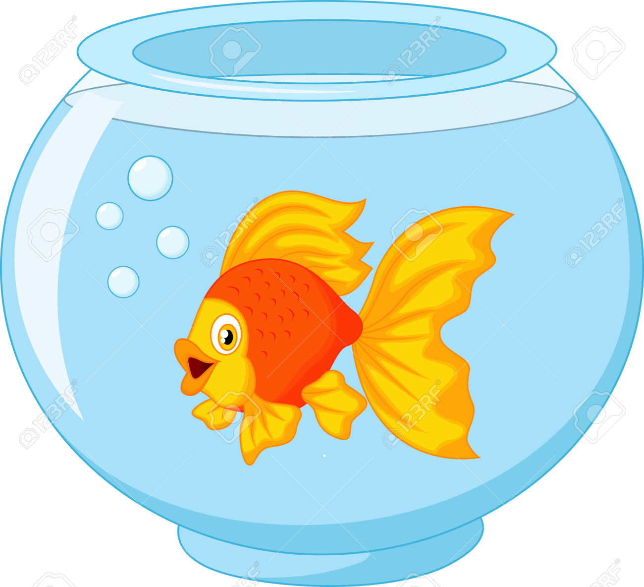 Goldfish in a fish bowl