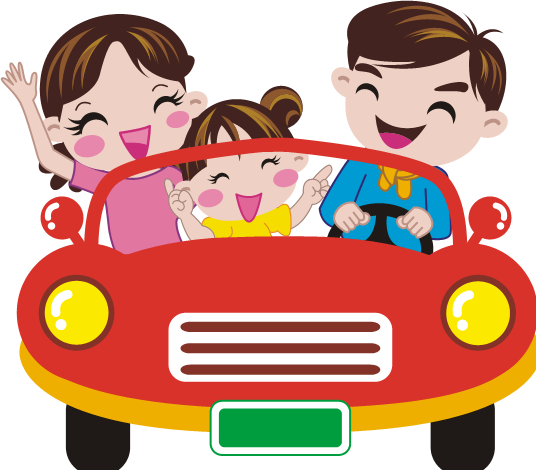 A family driving around in their car.