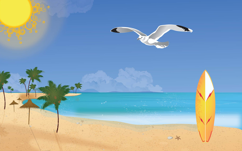 Beach scenery with a surf board in the sand and a seagull flying in the sky.