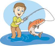 A boy catching a large fish in a lake.
