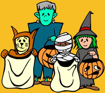 Kids dressed in their Halloween costumes.