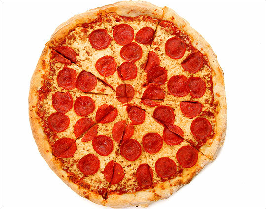 A pepperoni pizza.