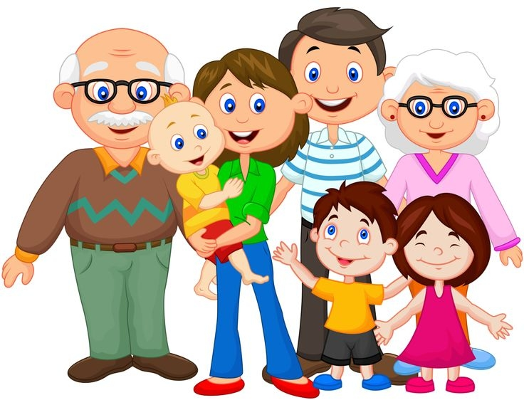 A large family with grandparents.