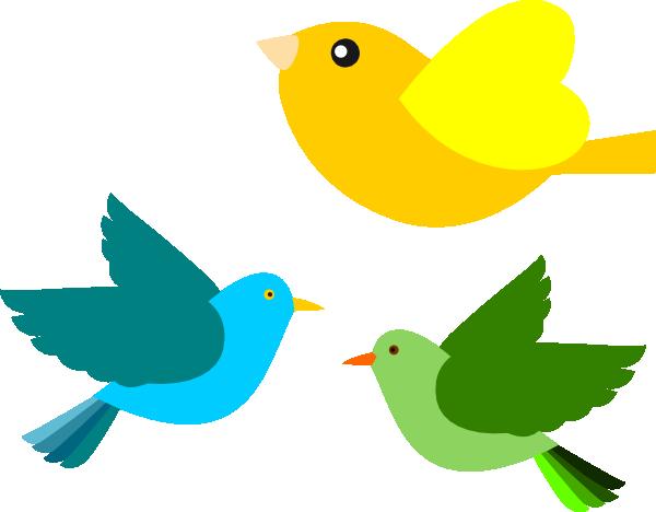 Three birds flying together.