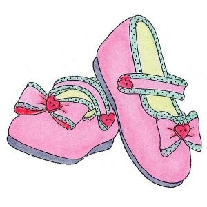 A pair of pink shoes.