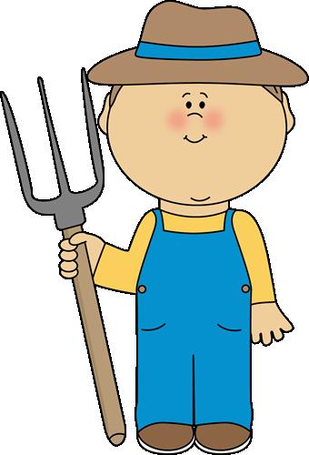 Farmer boy with a pitchfork