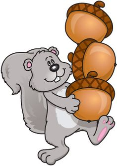 A squirrel carrying three acorns.