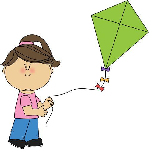 A girl flying a kite.