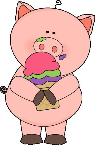 A pig eating an ice cream cone.