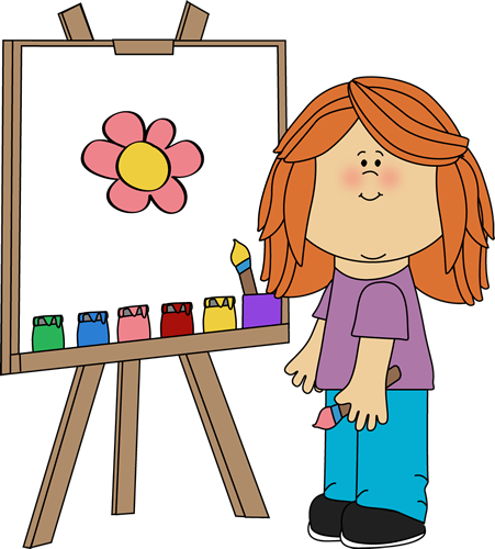 A girl is painting a flower.