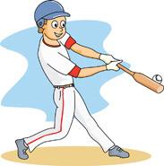 A boy striking a baseball with a bat at a baseball game.