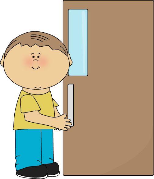 Boy shutting the door.