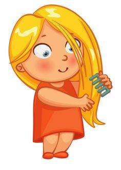 Girl brushing her hair.
