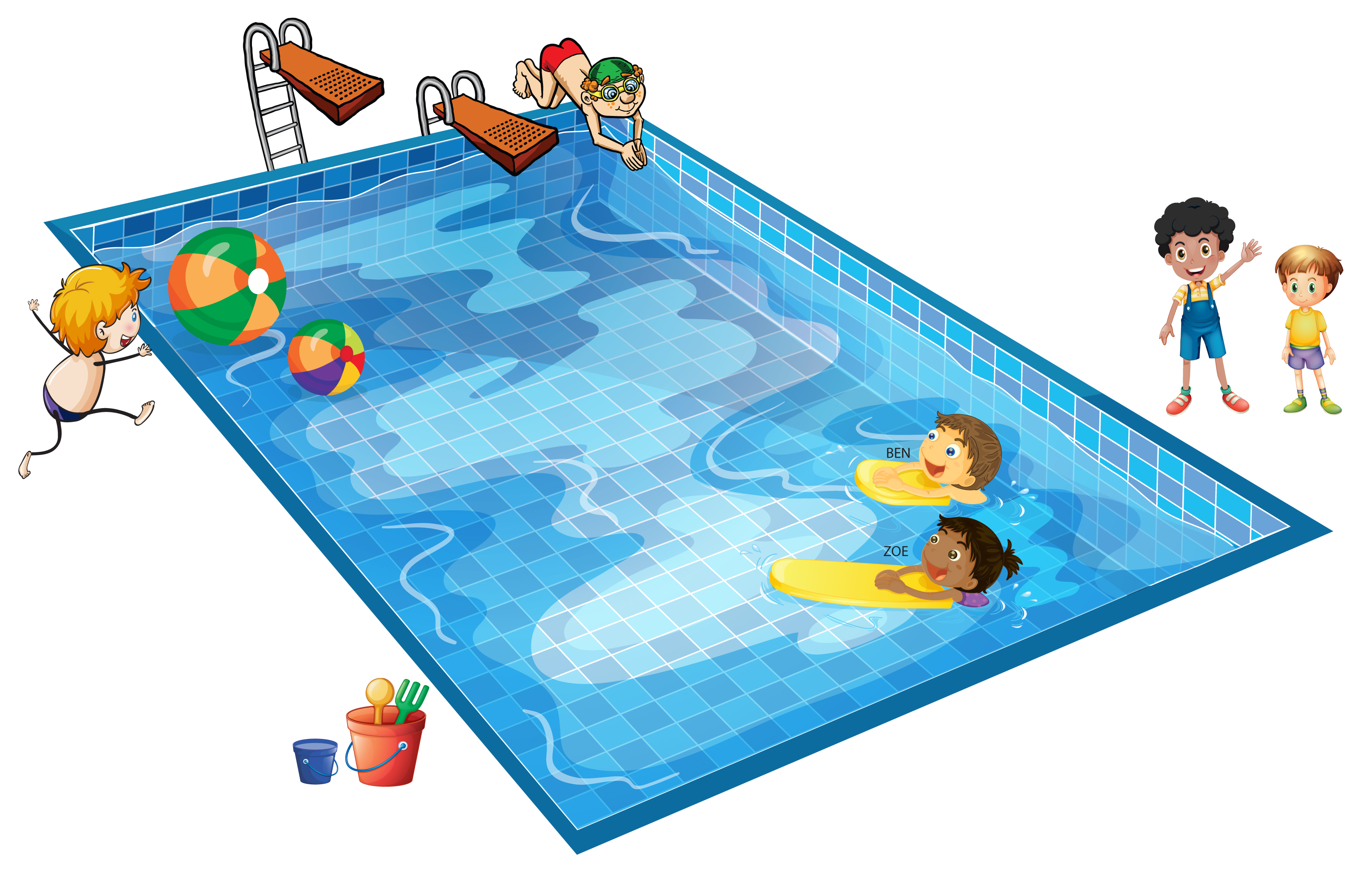 Children swimming at a pool.