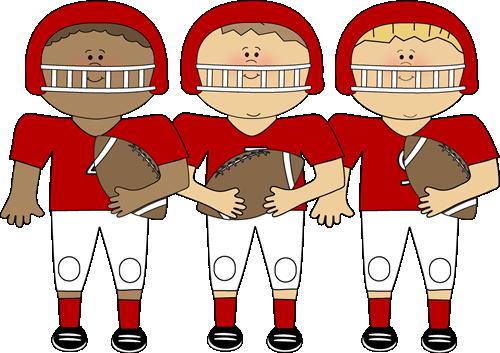 Boys in football uniforms.