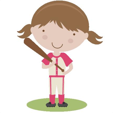 A girl playing baseball.
