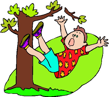 A boy is falling out of a tree.