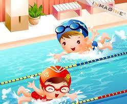 Kids swimming in pool
