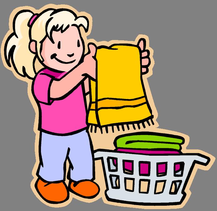 A girl folding laundry