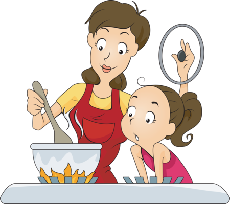 Girl helping her mom make dinner