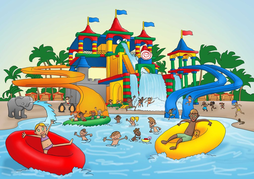 Kids playing at a water park.