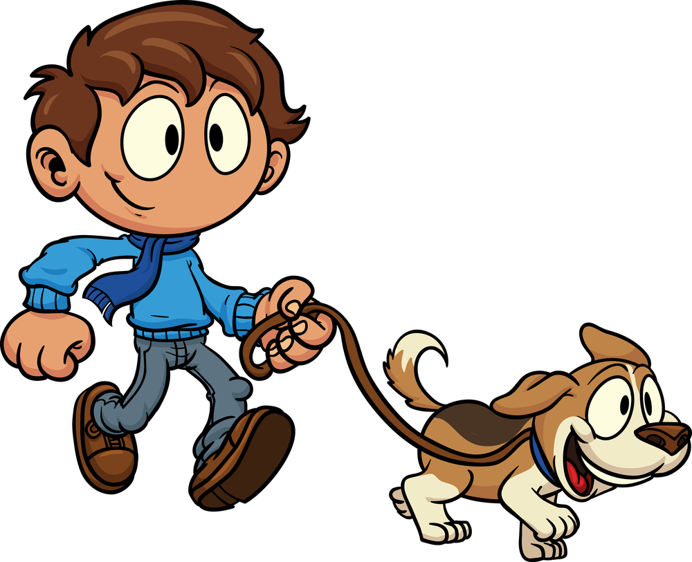 Boy walking his dog