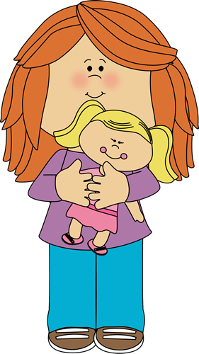 A girl holding her doll