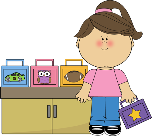 A girl is holding her lunchbox from the others sitting on a table.