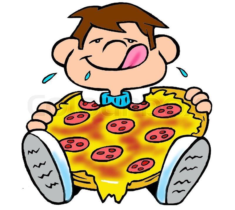 A boy eating a pizza