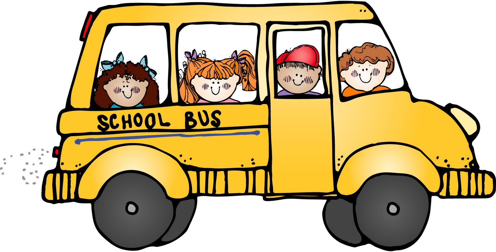 Kids riding a school bus.