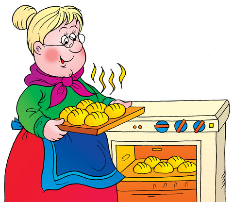 Grandma pulling food out of oven.