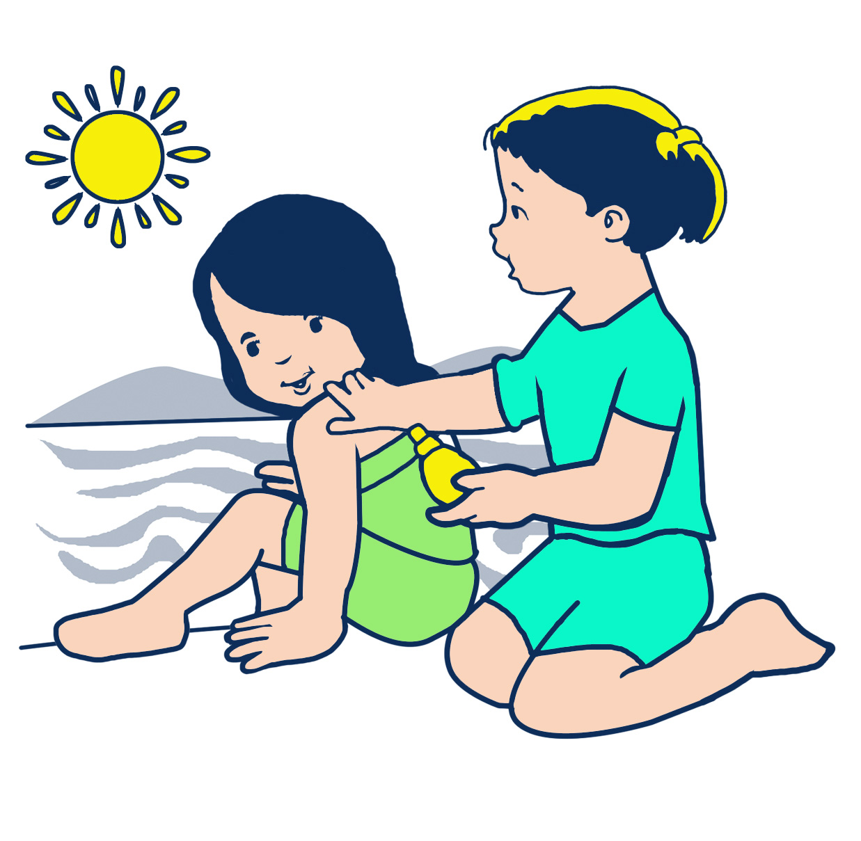 A girl putting sunscreen on so she doesn't burn while at the beach.