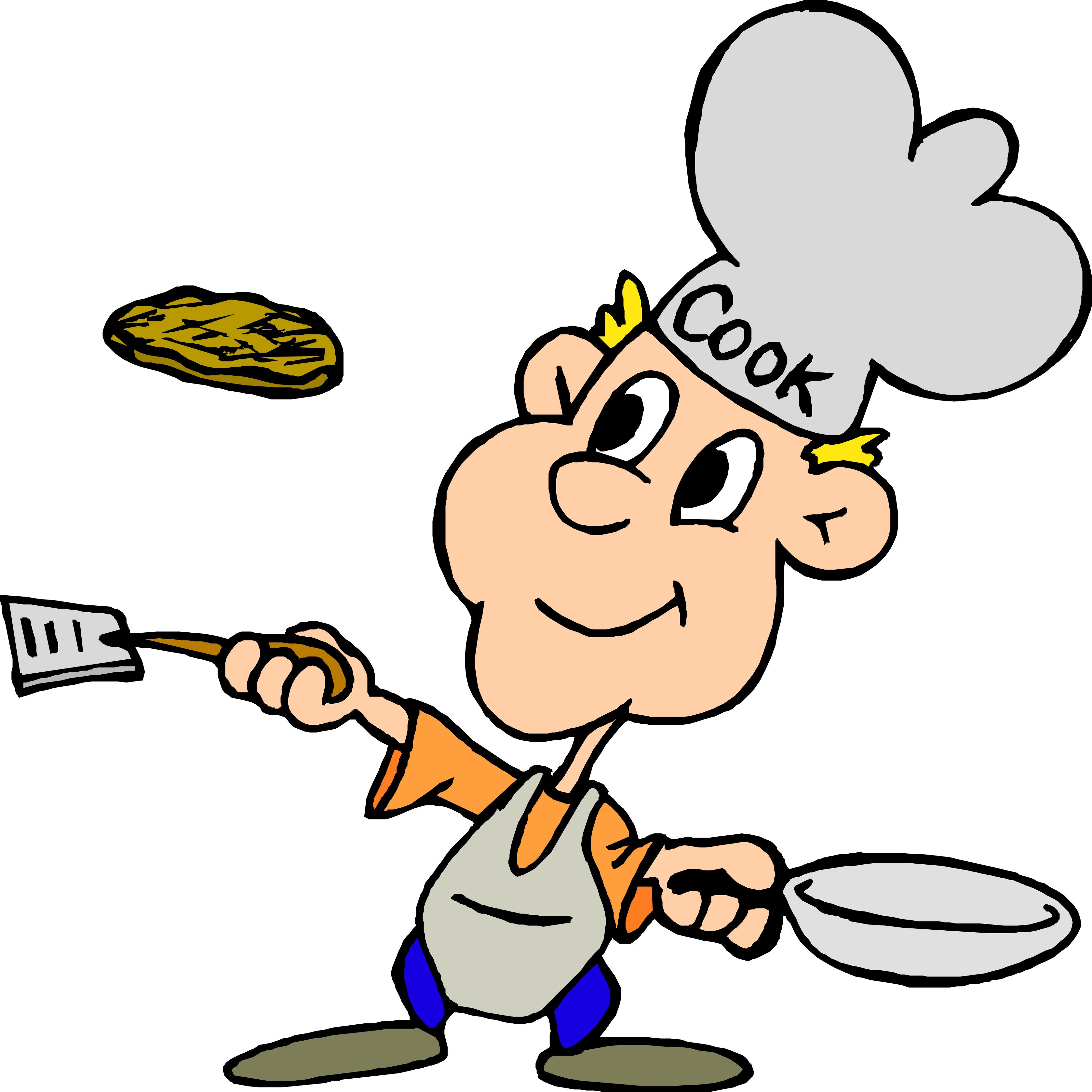 A cook flipping food in a pan.