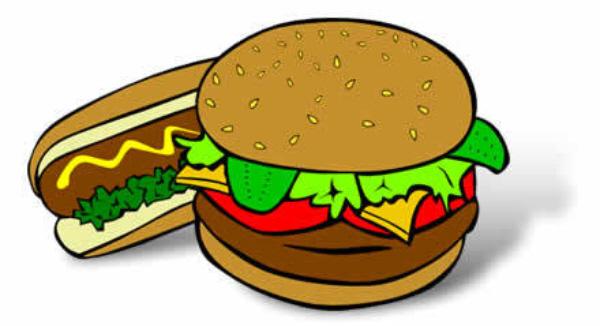 A hamburger and a hot dog.