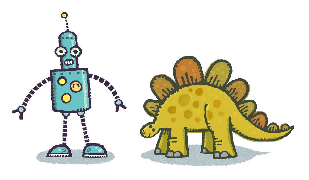 A robot and a dinosaur.