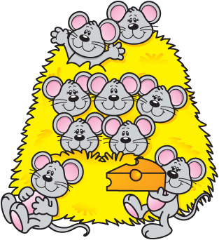 A group of mice in a stack of hay and a mouse with a chunk of cheese.