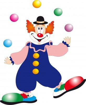 A clown juggling balls.