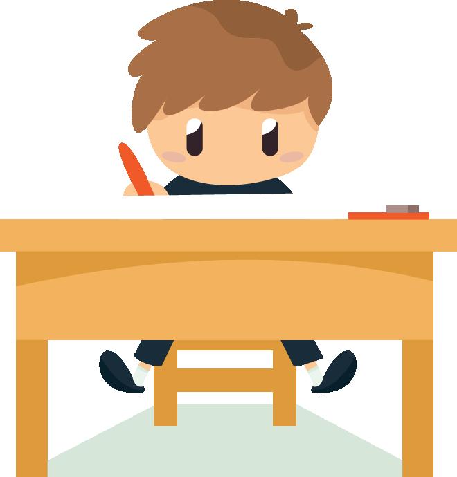 Boy sitting at desk working on his homework.