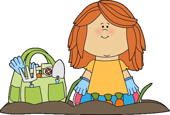 A girl gardening.